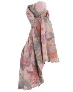 Oudroze kasjmiermix sjaal met bloemenprint