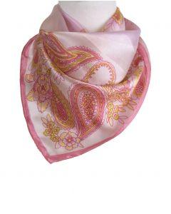 Roze zijden sjaaltje met bloemen en- paisley print