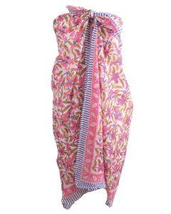 Katoenen sarong met floral print in roze