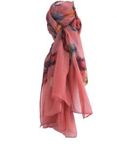 Lichtroze sjaal met verenprint