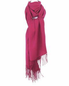 Soepelvallende effen hardroze pashmina sjaal