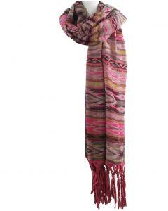 Sjaal / omslagdoek met prints in roze en bruin-tinten