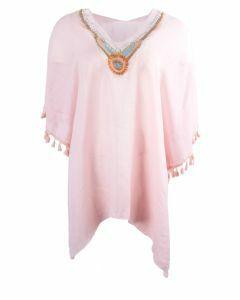 Roze tuniek met versierde hals en kwastenfranje