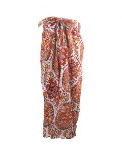 Ecrukleurige sarong met mandalaprint