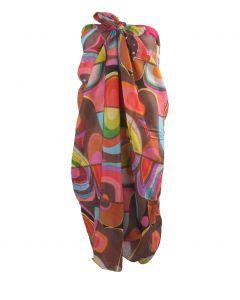 Donkerbruine sarong met grafische print