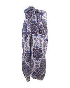 Witte sarong met mandala print in paars-grijs