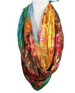 Satijnen sjaal met print van ''Tulpenvelden'' van Monet