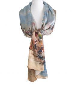 Zijden sjaal met afbeelding van ''middeleeuwse schilderij''