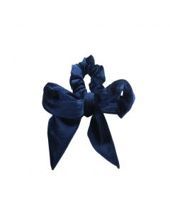 Velvet Scrunchie met strik in donkerblauw