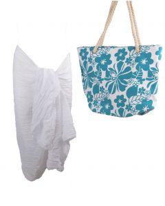 Set van turquoise witte strandtas en pareo