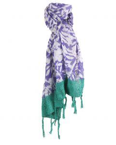 Luchtige witte sjaal met floral print in paars