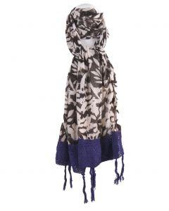 Luchtige sjaal in off-white met donkerbruin