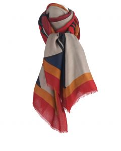 Sjaal met colorblockprint in taupe en rood