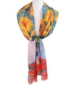 sjaal met een schildering van zonnebloemen