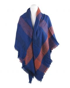 Omslagdoek in kobaltblauw met oranje