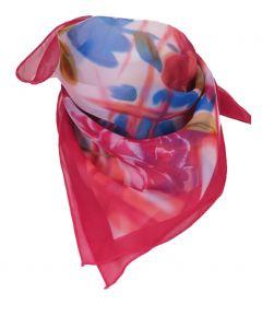 Vierkante donker-roze crêpe voile sjaal met bloempatroon