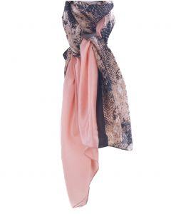 Zijden roze sjaal met reptielprint