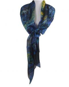 Zijden sjaal/stola met print ''De sterrennacht'' van Gogh