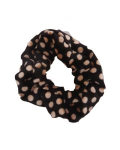 Velvet Scrunchie met stippen in beige