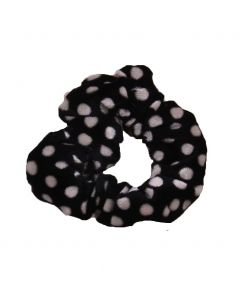 Velvet Scrunchie met stippen in zwart