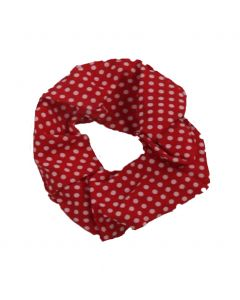 Scrunchie in rood met stippenprint