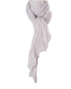 Witte zijde- blend sjaal met zwarte stippen
