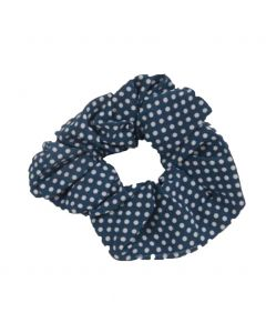 Scrunchie in jeansblauw met stippenprint