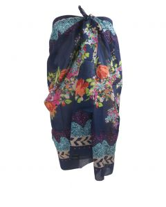 Donkerblauwe sarong met bloemenprint