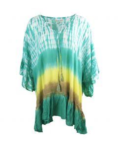 Turquoise tuniek met tie-dye print