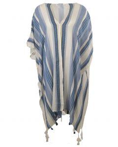 Katoenen kimono met geweven strepen in blauw-tinten