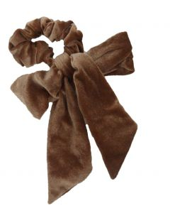 Velvet Scrunchie met strik in beige