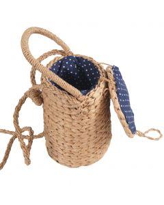 Bruine bucket tasje van gevlochten stro