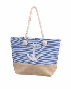 Strandtas met blauwe strepen en anker