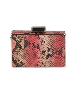 Clutch met slangenprint in roze en beige