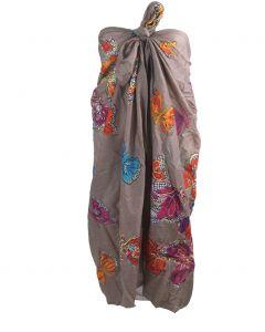 Taupe kleurige sarong met vlinder print