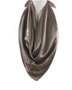 Sjaal van effen taupekleurig satijn