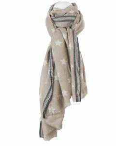 Beige wol-zijde blend sjaal met sterrenpatroon