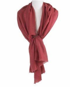 Terra-roze sjaal van een fijne kasjmier-zijde blend