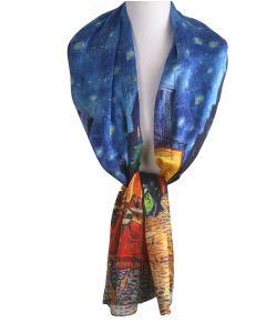 Zijden sjaal met afbeelding ''Caféterras bij nacht'' van Gogh