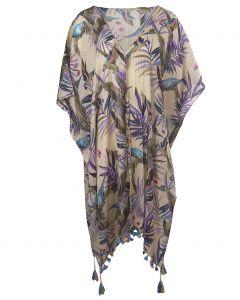 Katoenen kimono in ecru met tropische print