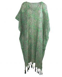Katoenen kaftan met paisley print in mintgroen en ivoor
