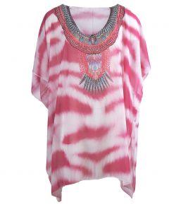 Voile tuniek met tijgerprint in roze-wit