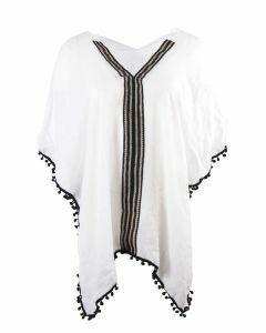 Tuniek in wit met zwarte pompoenband