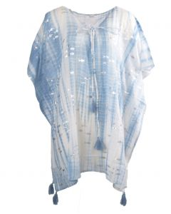 Lichtblauwe tuniek met tie dye en visjes print