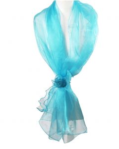 Turquoise organza stola met corsage op strikband