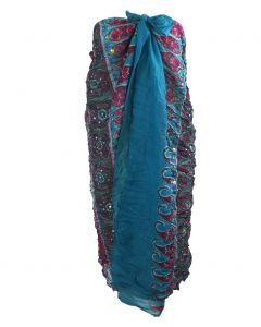 Donker turquoise sarong met ornament print in hardroze