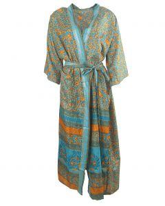 Lange zijden kimono in mintgroen en oranje