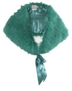 Turquoise kunstbont stola
