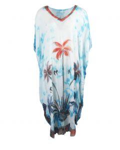 Lichtblauwe gewolkte v-hals kaftan met palmbomen
