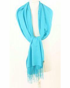 Soepelvallende effen turquoise pashmina sjaal